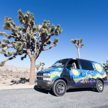 Ons busje in Joshua Tree