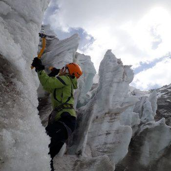 ijsklimmen oefenen op dag 1