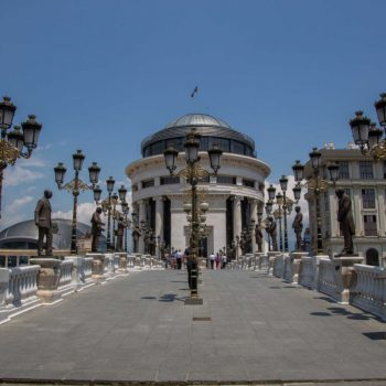 Skopje's brug op de boulevard
