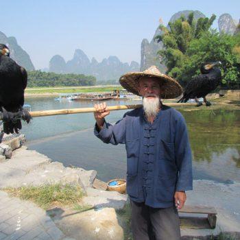 Aalscholver visser Xing Ping