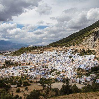 Uitzicht over Chefchaouen bij de Spaanse Moskee