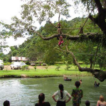 Vanuit een boom de rivier in springen