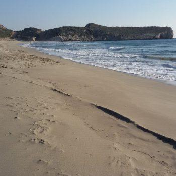Het prachtige brede zandstrand