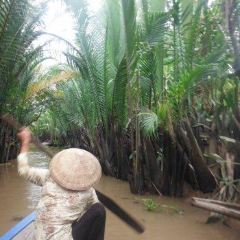 Kleine bootje door de Mekong delta