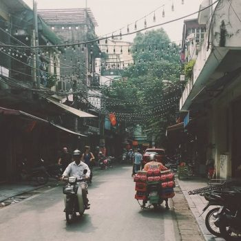 Hanoi streetlife op een rustig moment