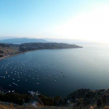 uitzicht over het Titicacameer en Copacabana