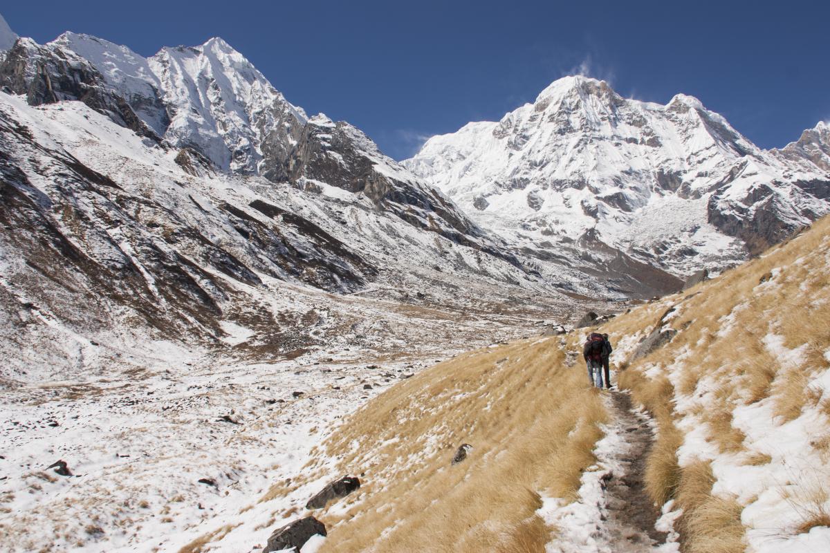 bijna bij het Annapurna Base Camp
