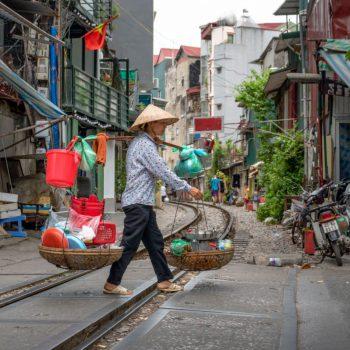 Straatleven in Hanoi