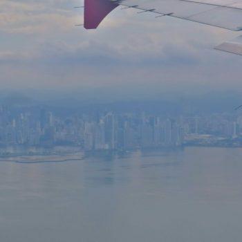Skyline vanuit vliegtuig