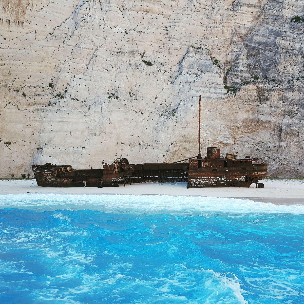 Shipwreck beach vanaf de boot gezien