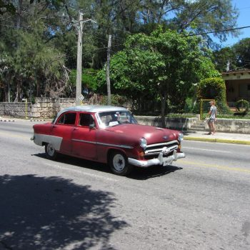 Old-timer in Varadero (bijna allemaal taxi's)
