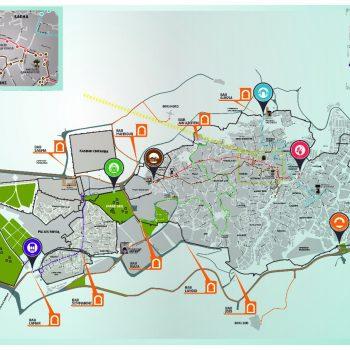 De kaart van Fez met de verschillende routes