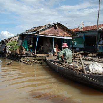 Drijvend dorp vlakbij Kompong Chhnang