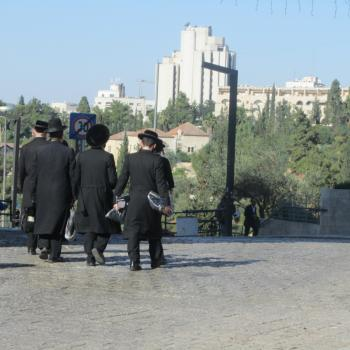 Jerusalem - Orthodoxe Joden bij Jaffa Gate
