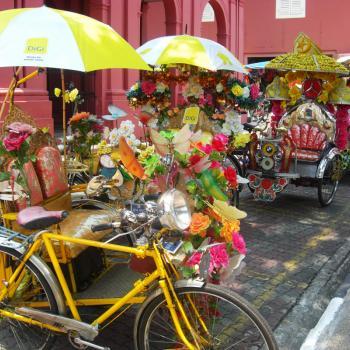Versierde fietstaxi's in Melaka