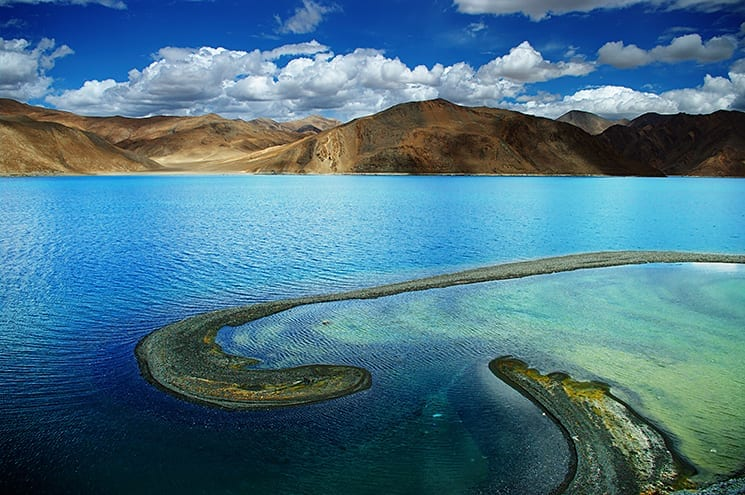 Pangong Tso Lake in Tibet