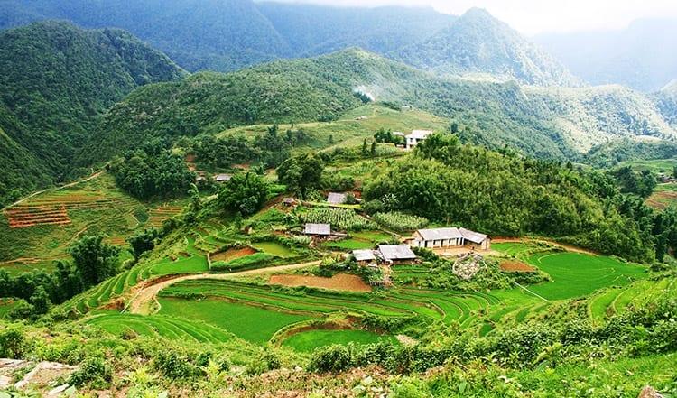 De groene en bergachtige omgeving van Sapa