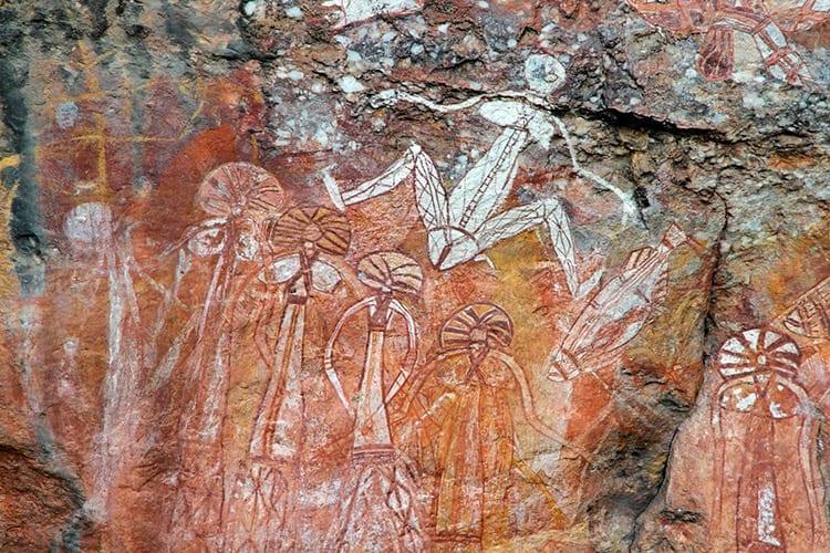 Aboriginal kunst bij de Nourlangie Rock