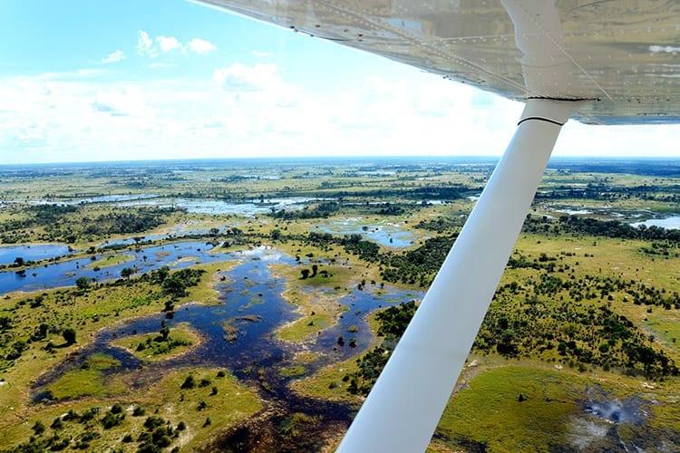Rondvlucht boven de Okavango Delta