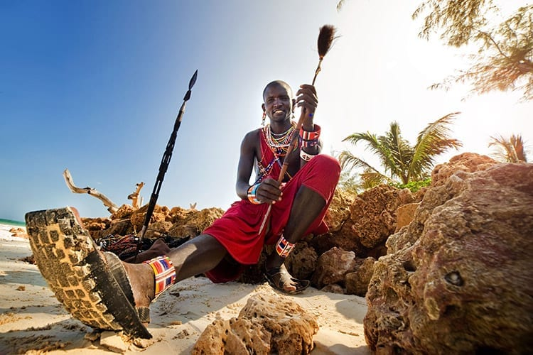Maasai op het strand