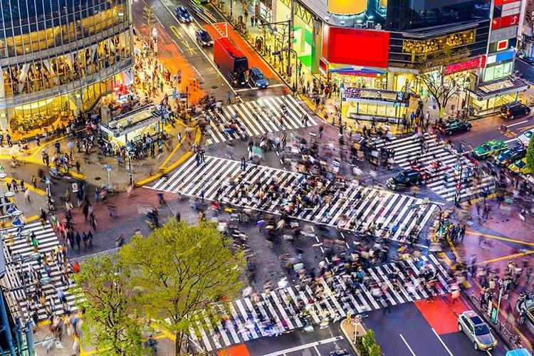 Shibuya kruispunt in Tokyo