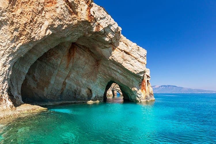 De blauwe grotten van Zakynthos