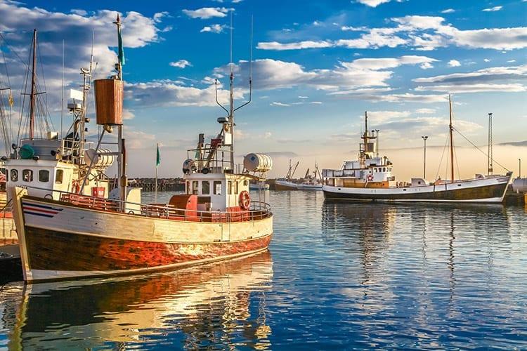 Vissersboten in de haven van Húsavík