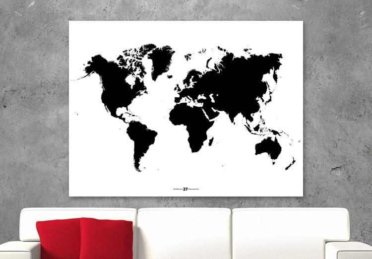 Wereldkaart modern, wit