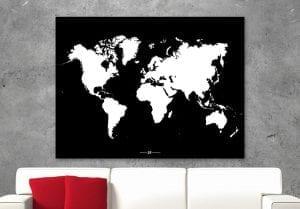 Wereldkaart modern, zwart