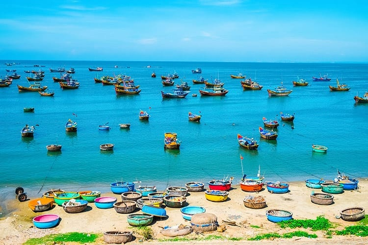 Vissersboten bij Mui Ne