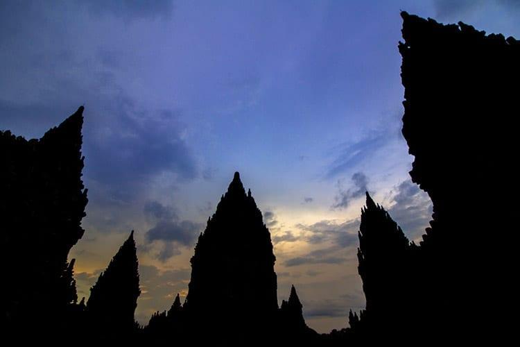 Prambanan zonsondergang