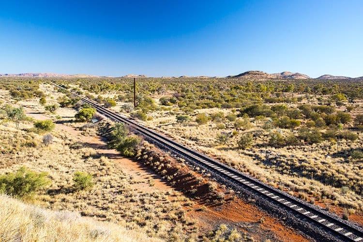 Spoorlijn in de buurt van Alice Springs