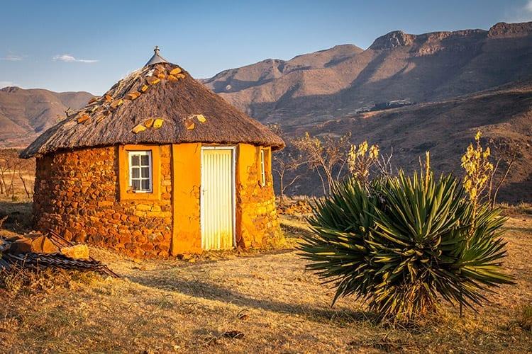 Traditionele hut in Malealea, Lesotho