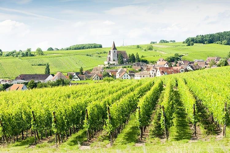 Hunawihr aan de 'Route de vin d'Alsace', Elzas