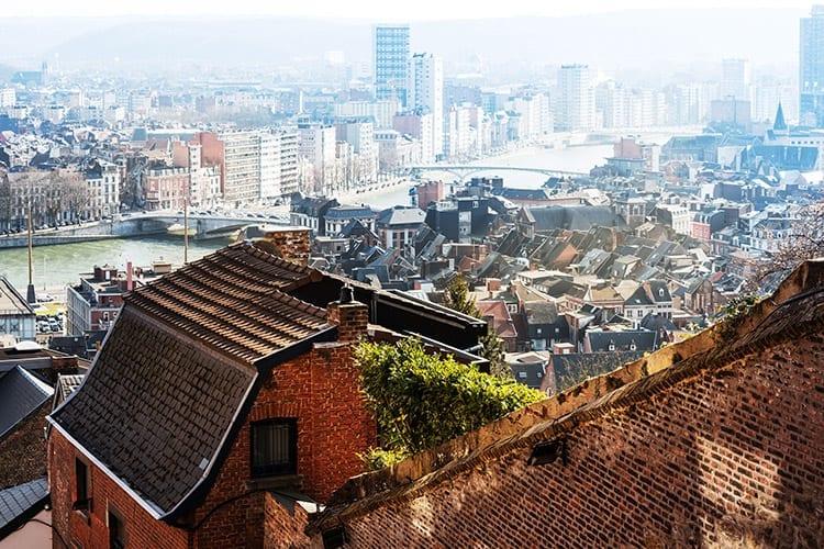 Uitzicht bovenaan de Bueren Trap, Luik