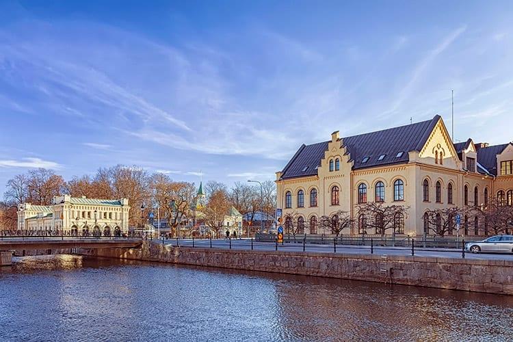 Rivier Fyrisan in het hart van Uppsala