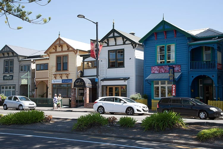 Gekleurde huizen in Napier